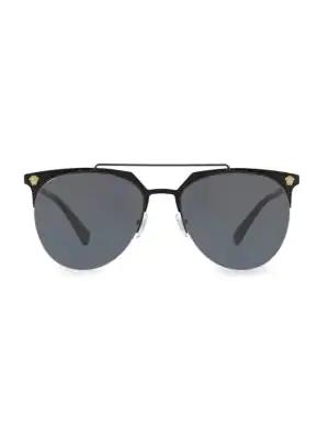 Versace 57Mm Aviator Sunglasses In Black