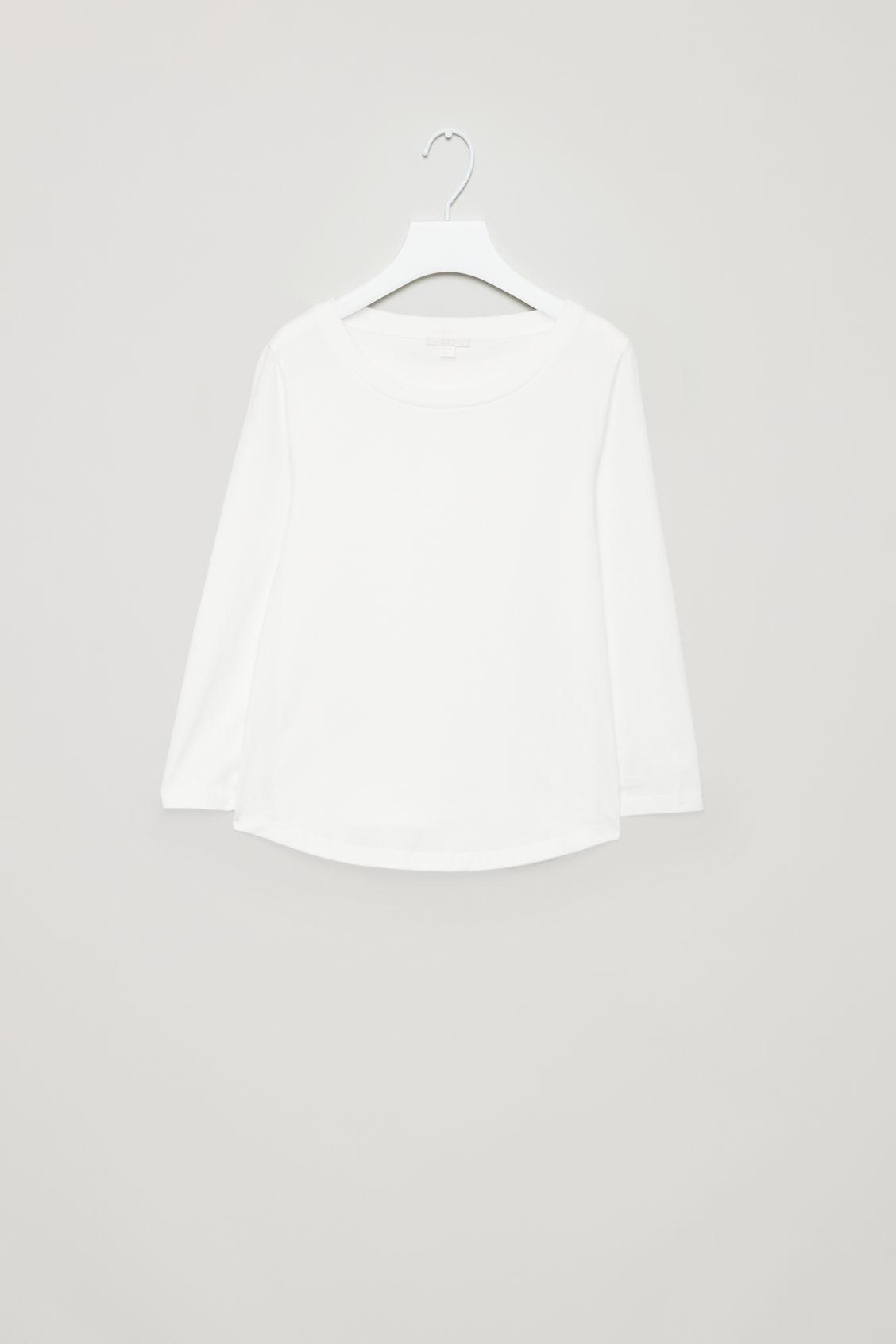 Cos ¾-sleeved Cotton Top In White