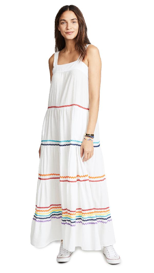 88f70bef982bf 9Seed Sayulita Tier Maxi Dress In White/Rainbow | ModeSens