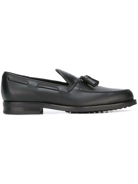 Tod's Leather Tassel Loafers In Black
