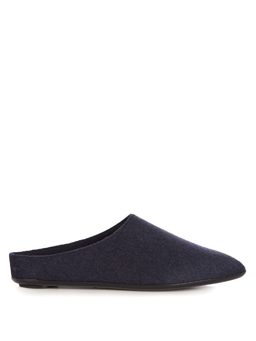 The Row Bea Cashmere Slipper Shoes In Navy