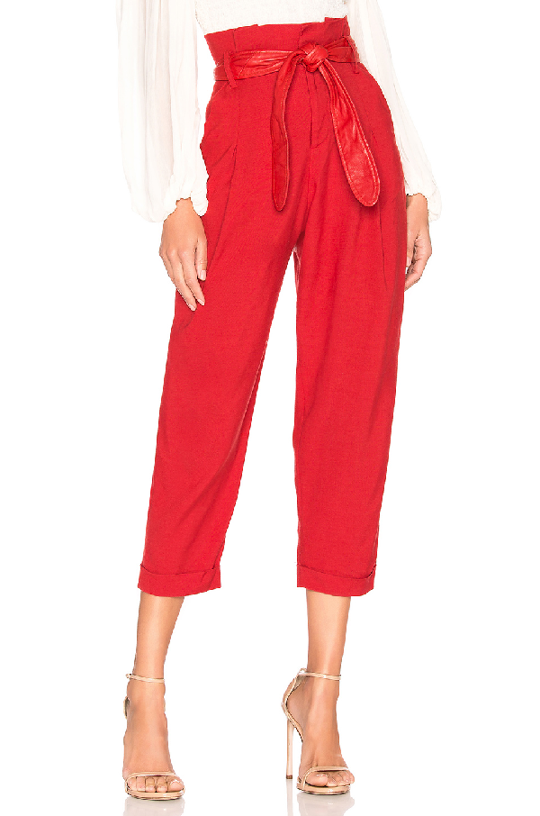 Marissa Webb Anders Linen Pant With Leather Belt In Cardinal Red