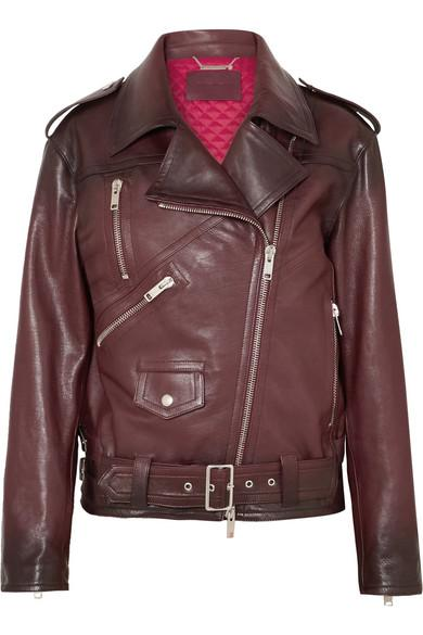 Givenchy Oversized Textured-Leather Biker Jacket In Burgundy