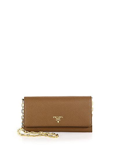 Prada Saffiano Leather Wallet-On-Chain, Brown (Cannella) In Camel