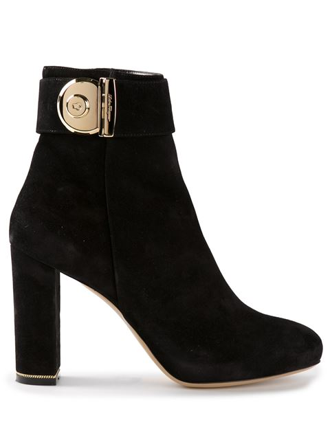 Salvatore Ferragamo Woman Embellished Suede Ankle Boots Black