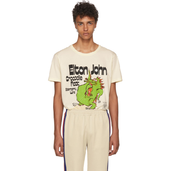 b5a236dccb52 Gucci Off-White Elton John Crocodile Rock T-Shirt In Neutrals | ModeSens