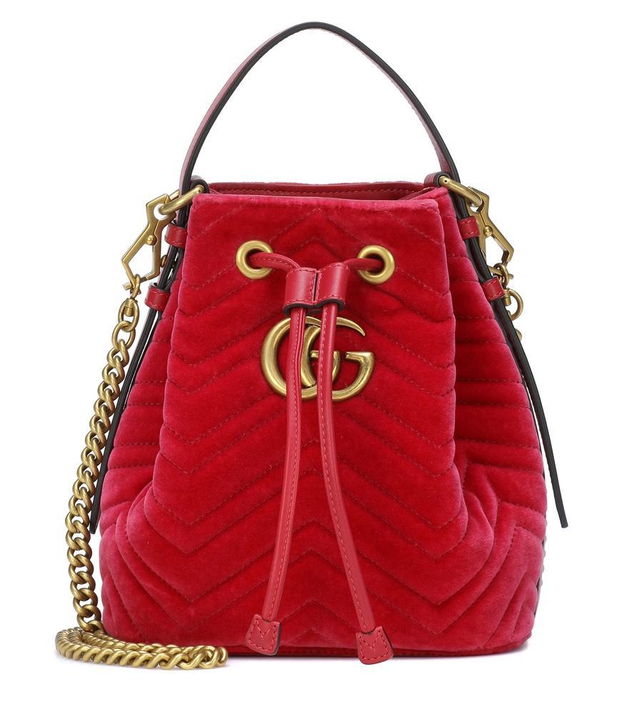 cfbc1ac05d0d72 Gucci Gg Marmont Velvet Bucket Bag In Pink   ModeSens