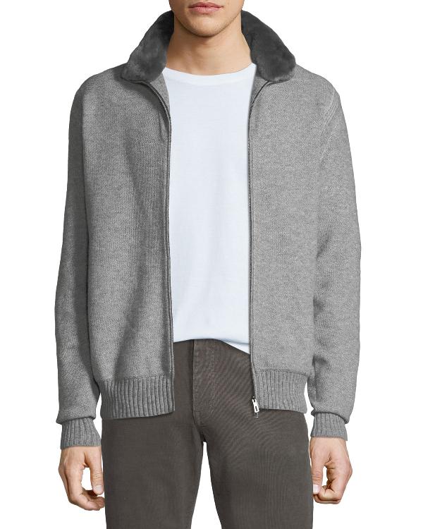 Loro Piana Men's Fur-trim Cashmere Bomber Cardigan Sweater In Multi
