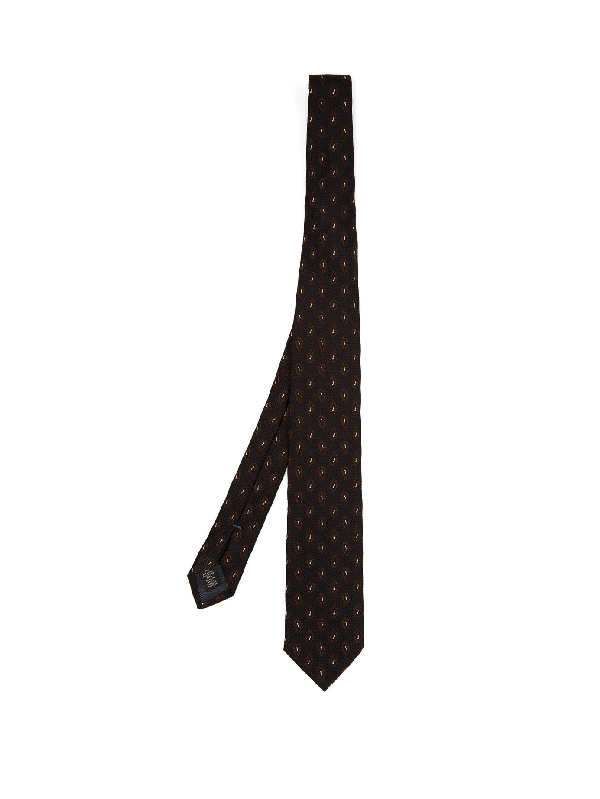 Ermenegildo Zegna - Paisley Embroidered Silk Tie - Mens - Navy Multi