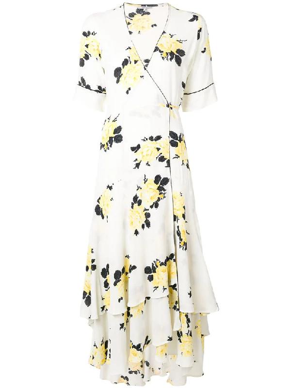050f59a4 Ganni Printed Ruffled Crepe Midi Dress In White | ModeSens