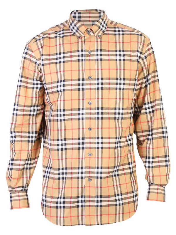 Burberry Multicolored Checked Shirt In Brown