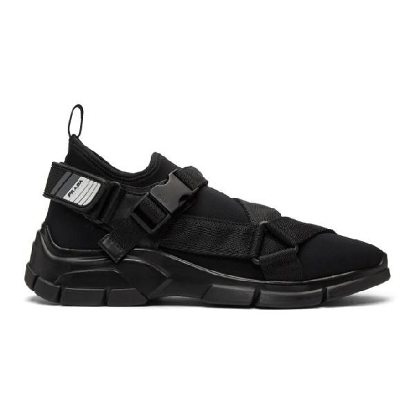 f1508160afed88 Prada Men's Neoprene Buckle Trainer Sneakers, Black | ModeSens