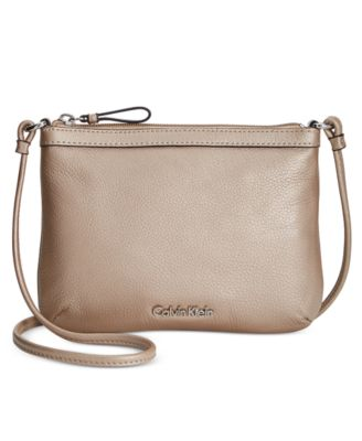 Calvin Klein Carrie Pebble Leather Crossbody In Metallic Taupe