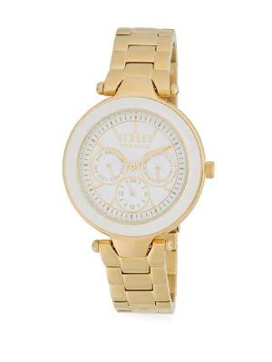 Versace Quartz Stainless Steel Link Bracelet Watch In Gold