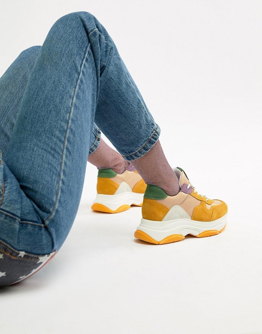 189d9771c22 Steve Madden Zela Mustard Suede Mix Chunky Sneakers - Multi