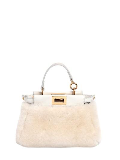 16468f5a2e Fendi Micro Peekaboo Shearling Shoulder Bag