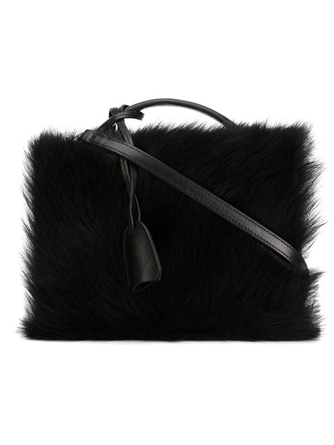 Mark Cross Grace Small Shearling-paneled Leather Shoulder Bag In Black