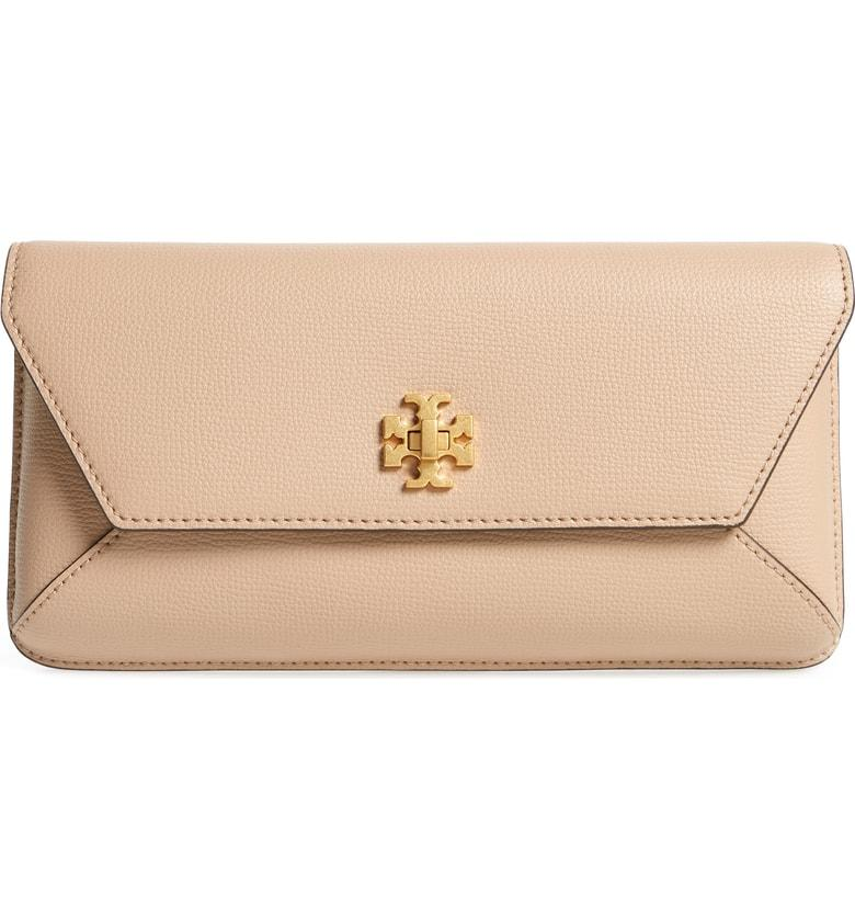 87acd8ae2f Tory Burch Kira Leather Envelope Clutch - Brown In Sand | ModeSens