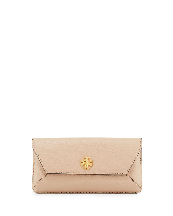 Tory Burch Kira Leather Envelope Clutch - Brown In Sand