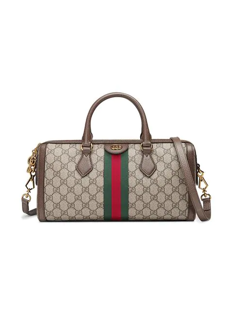 Gucci Ophidia Textured Leather-Trimmed Printed Coated-Canvas Tote In Neutrals