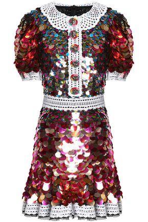 Dolce & Gabbana Woman Lace-Trimmed Sequined Crepe Mini Dress Multicolor
