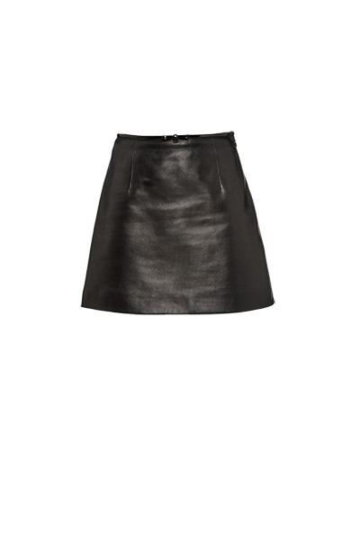 a9a07cad8645 Miu Miu Bow-Embellished Leather Mini Skirt In Black