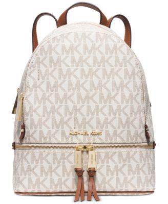 e76eb2b1b323 Michael Kors Rhea Zip Vanilla Mk Signature Coated Twill Medium Backpack In  Vanilla Signature