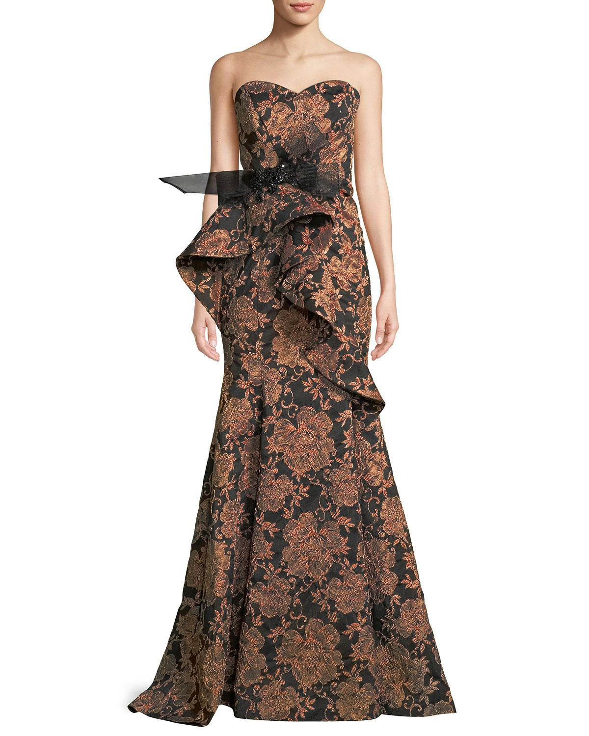 30f4bebac43a Badgley Mischka Strapless Sculpted-Ruffle Jacquard Evening Gown In ...