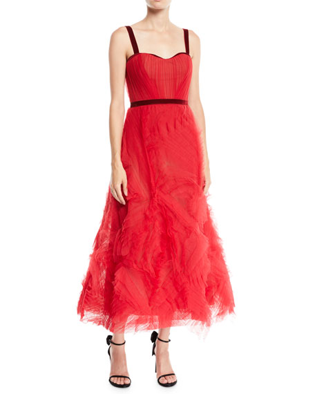 7464c1f464 Marchesa Notte Textured Tulle Gown W/ Corset Bodice & Velvet Trim In Red
