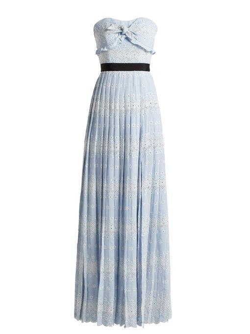 Self-Portrait Strapless Floral Broderie-Anglaise Maxi Dress In Light Blue
