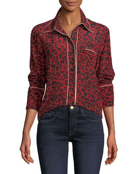 N°21 Leopard-Print Silk Button-Front Blouse In Multi