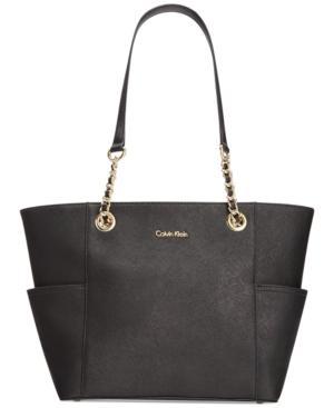 Calvin Klein Hayden Saffiano Leather Tote In Black/gold