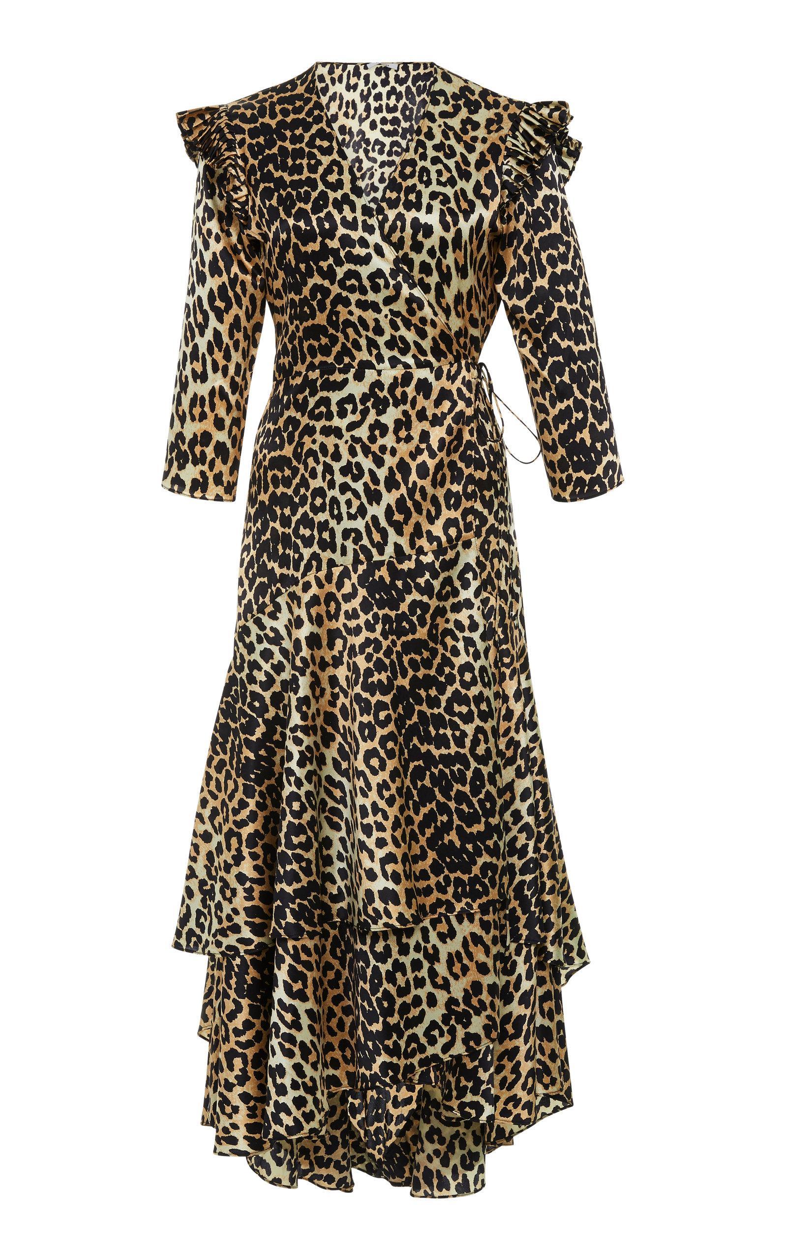 cedc223e11aecc Ganni Calla Leopard-Print Stretch-Silk Wrap Dress In Nude   Neutrals ...