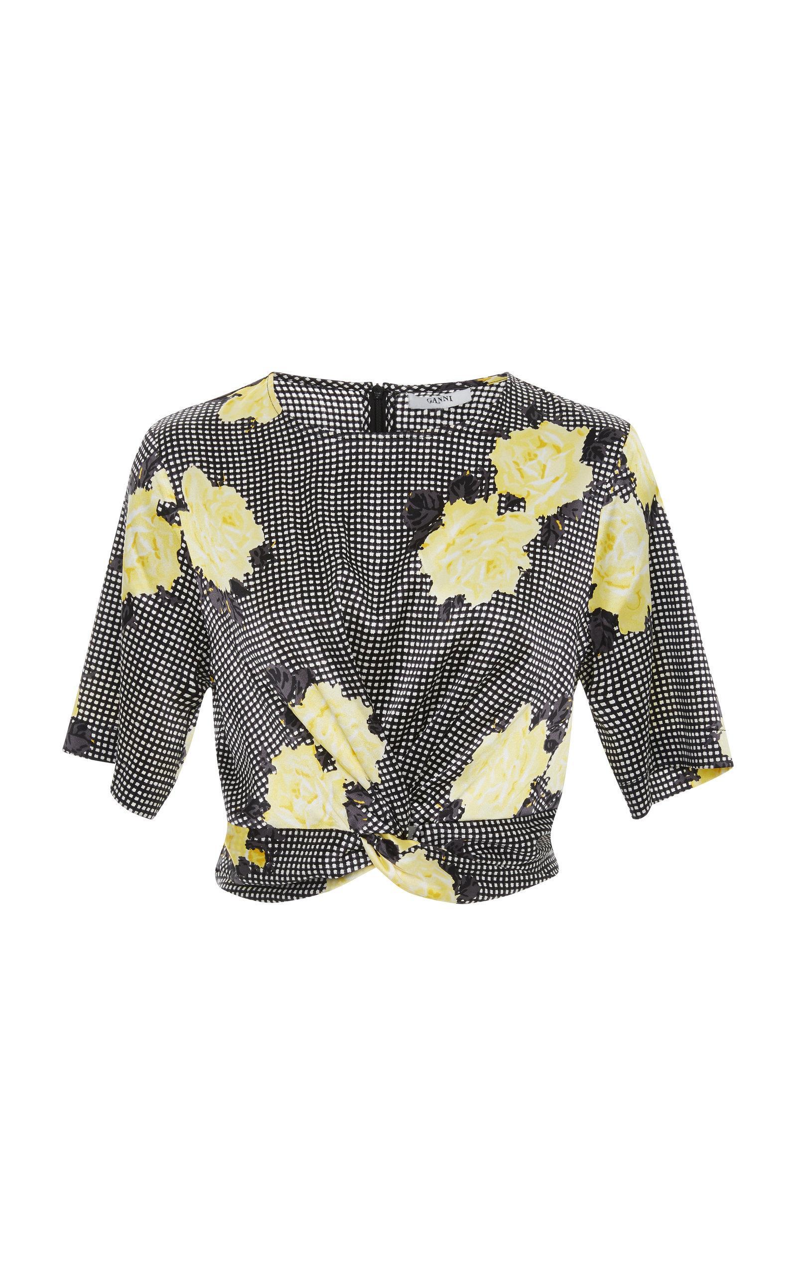 46e7150b Ganni Floral Tie Front Silk-Blend Crop Top | ModeSens