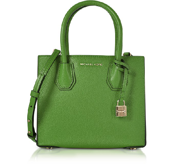 Michael Michael Kors Studio Mercer Medium Leather Messenger In True Green/Gold