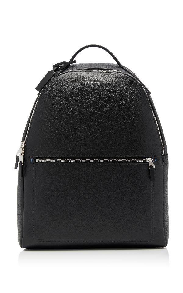 Smythson Burlington Zipped Leather Backpack In Black