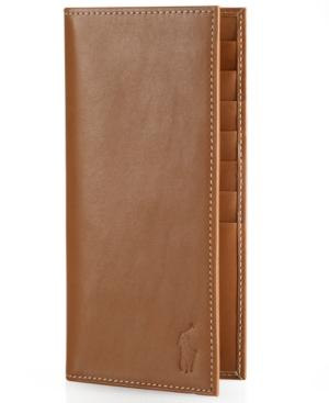Polo Ralph Lauren Men's Accessories, Burnished Leather Narrow Wallet In Brown