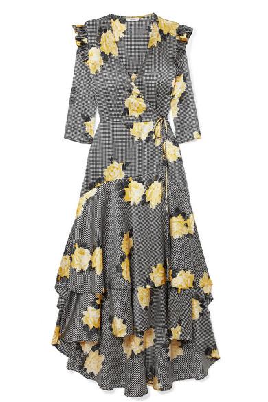 12288422eac17e Ganni Calla Leopard-Print Stretch-Silk Wrap Dress In Black