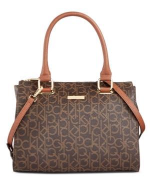 Calvin Klein Hudson Small Signature Satchel In Brown/khaki/luggage Saffiano