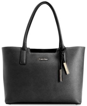 Calvin Klein Saffiano Leather Tote In Black