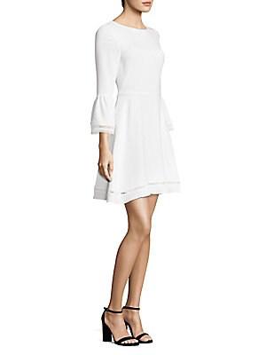 Shoshanna Three-quarter Bell-sleeve Dress In Ivory