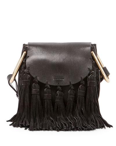 27823d0179 ChloÉ Hudson Small Leather & Suede Tassel Shoulder Bag In Black ...