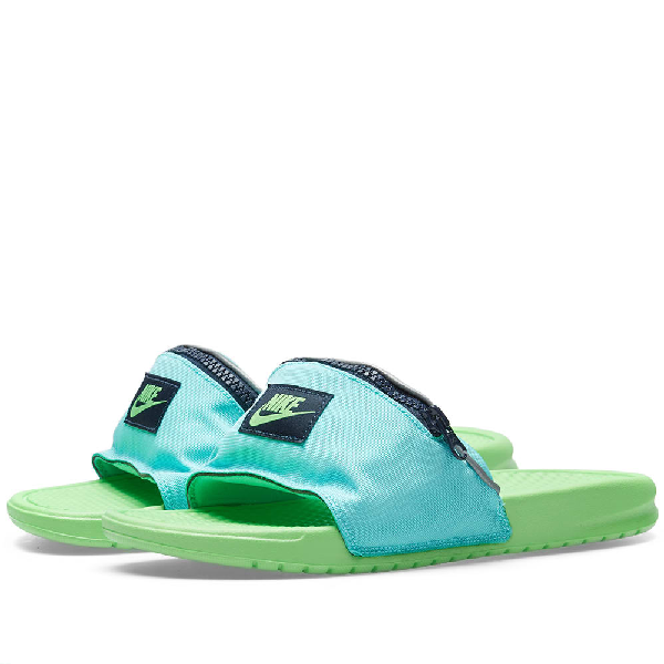 a6d742271fd943 Nike Men s Benassi Jdi Fanny Pack Slide Sandals From Finish Line In Green