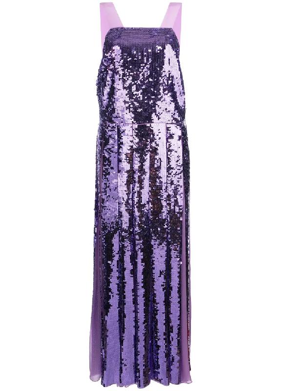 d92d346c47f Tibi Sequin Overall Dress In Purple