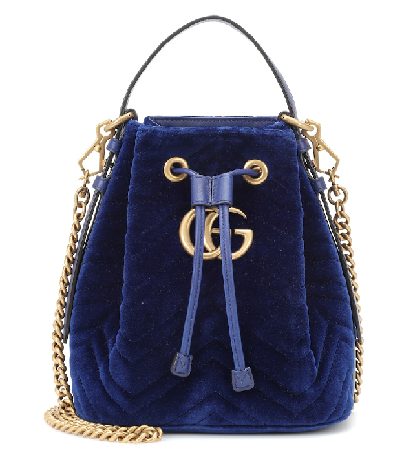 75e840902b4e Gucci Gg Marmont Velvet Bucket Bag In Blue | ModeSens