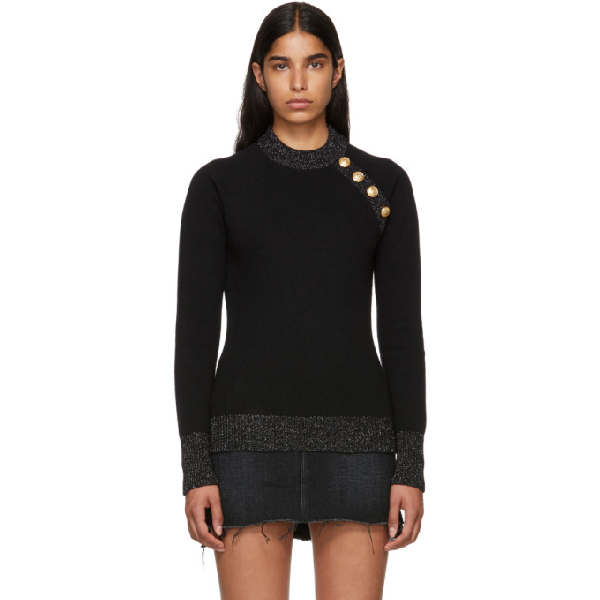 Balmain Wool And Cashmere-Blend Sweater In Nr/Ag C5127