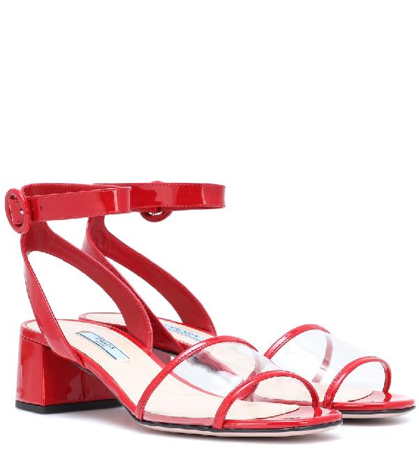 Prada Patent Leather Sandals In Red