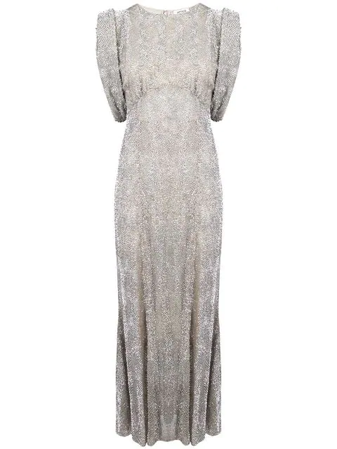 Attico Sequin Gathered-Sleeve Gown In Grey