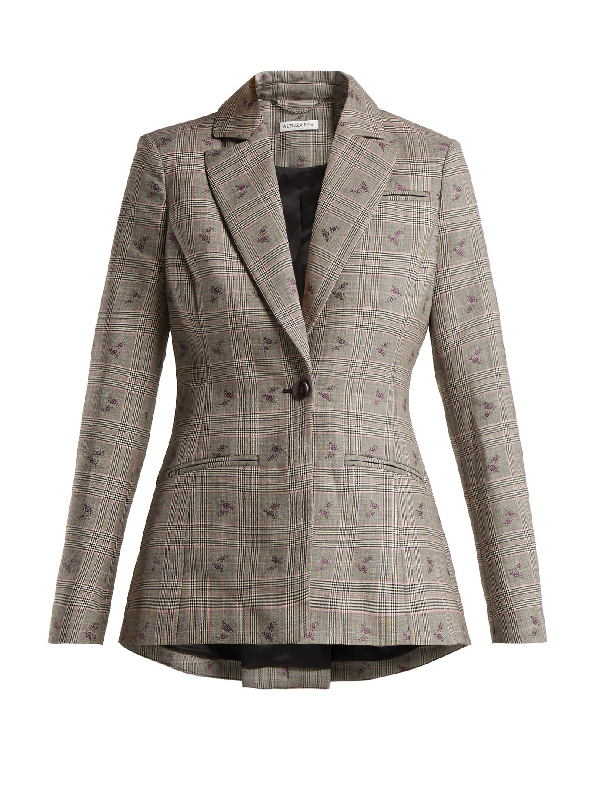 Altuzarra Single-Breasted Floral-Embroidered Prince Of Wales Check Blazer In Black