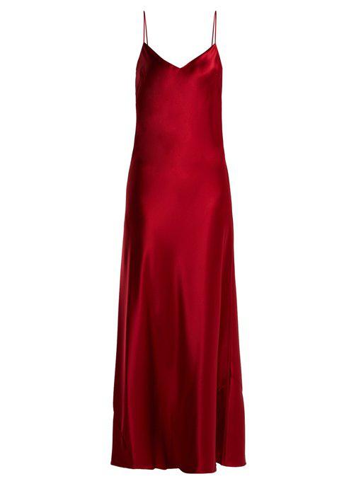 bfbe5336905 Galvan Sienna Bias-Cut Satin Crepe Dress In Red